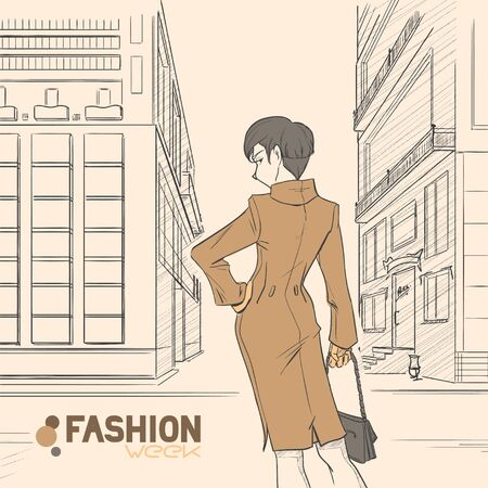 business district: The young beautiful elegant female  on the street in downtown business district. Woman is dressed in long coat and stands back. Autumn. Cloud. Yellow and brown colors. Comic style