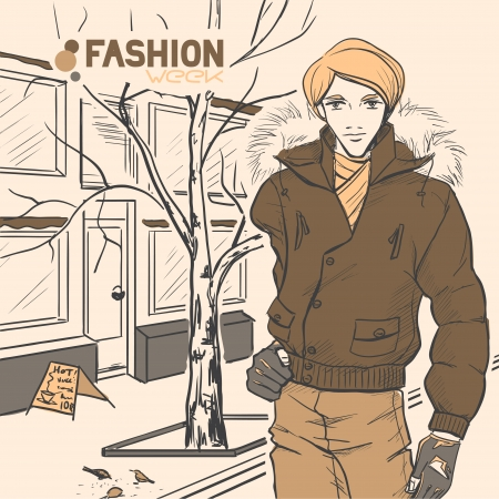 路上の若い美しいハンサムな男性。秋。クラウド。黄色と茶色の色。コミック スタイル
