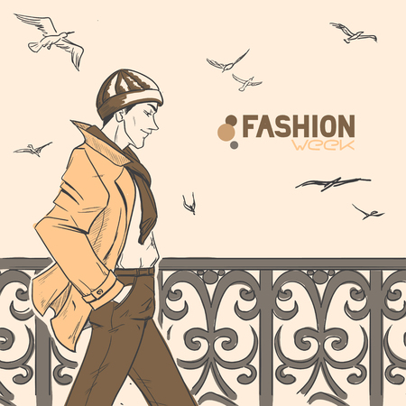 The young handsome man walks on the embankment, seagulls fly over him. Autumn. Cloud. Yellow and brown colors. Comic style