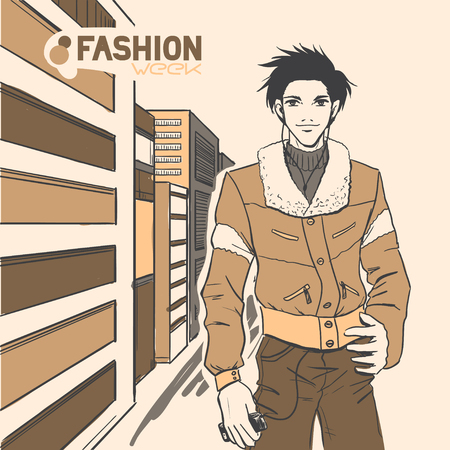 The young beautiful handsome male on the street. Autumn. Cloud. Yellow and brown colors. Comic style  Vector