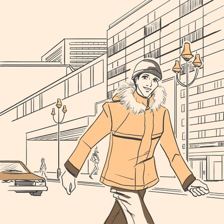 The young handsome man walks on the street. Autumn. Cloud. Yellow and brown colors. Comic style  Vector