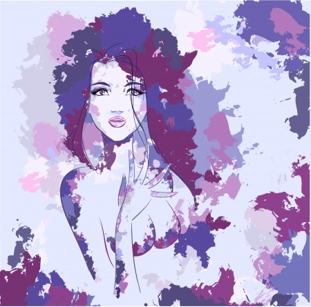 nude woman: Abstract portrait of young sexy nude woman painted watercolour with beautiful eyes and lips. Vector lilac and violet colors. Series of watercolour works.  Illustration