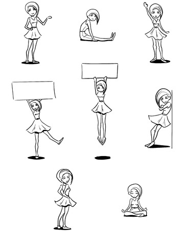 Set of funny icons for web. Young pretty woman in different poses. Vector monochrome.