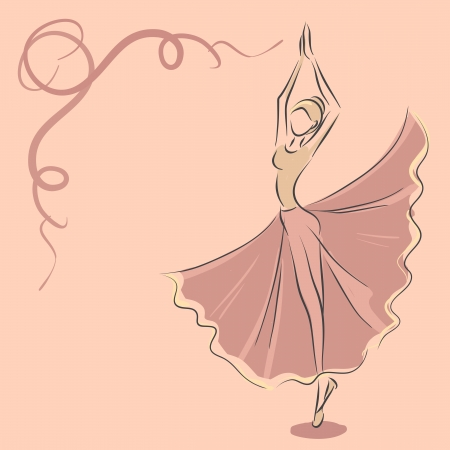 Vector image with slender dancer. Ballet theme.  向量圖像