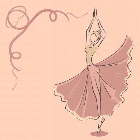Vector image with slender dancer. Ballet theme.  Illustration