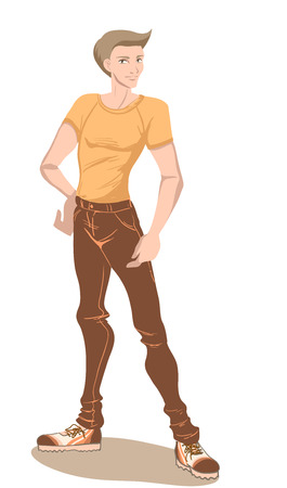 The young handsome man in a t-shirt and sneakers. Vector image, orange and brown colors  Vector