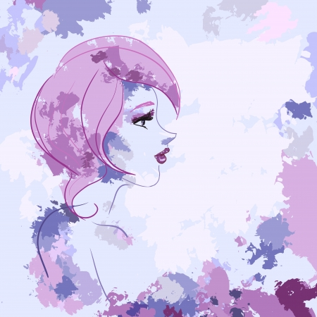 female likeness: Vector picture with profile of beautiful woman with pink hair. Watercolor, brushes