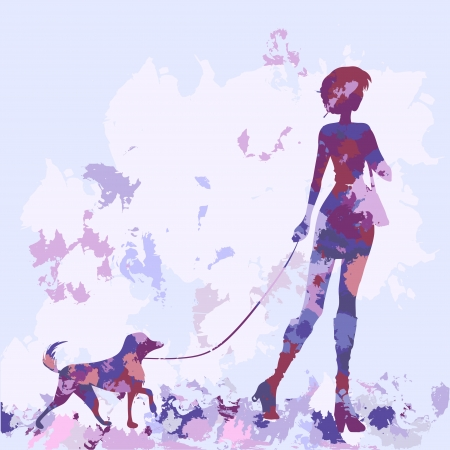 Silhouette of slender woman walking with dog. Watercolor, vector image. Violet, lilac, pink color  Vector