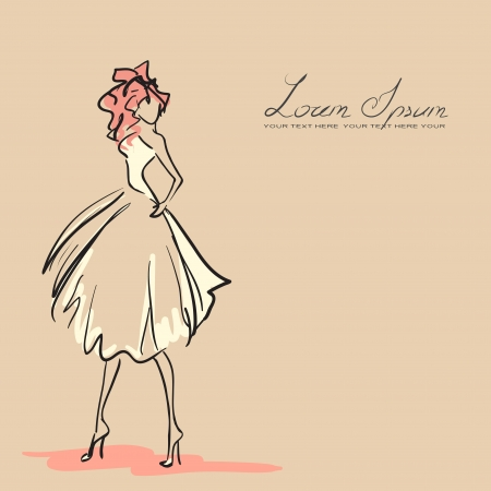 mannequin mode: Jeune femme dans la belle robe. Couleur orange, vecteur