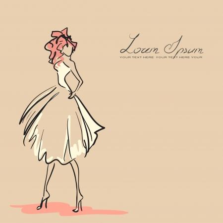 esboço: Mulher nova no vestido bonito. Cor laranja, vetor Ilustração