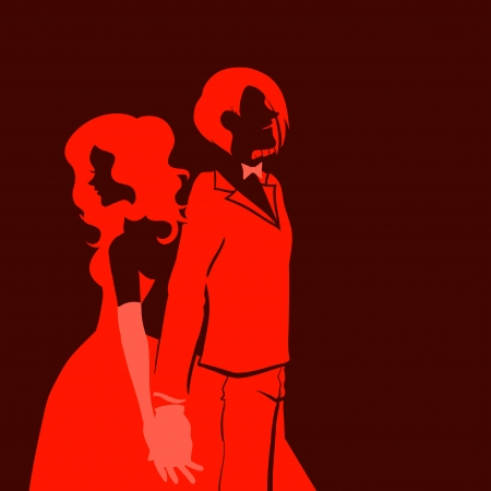 Silhouette of a beautiful young loving couple. Themes are romantic, wedding, love,happy, relationship. Vector image. Red and black colors.  Vector