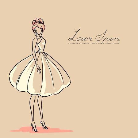 Young woman in beautiful dress. Orange color, vector  Vector