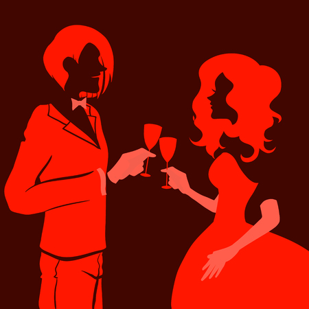 Silhouette of a beautiful young loving couple drinking champagne. Themes are romantic, wedding, love,happy, relationship. Vector image. Red and black colors.  Vector