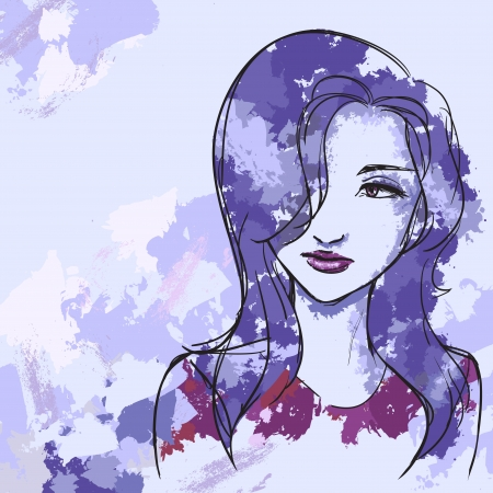 female likeness: Vector image with portrait of beautiful woman with violet hair. Watercolor, brushes  Illustration