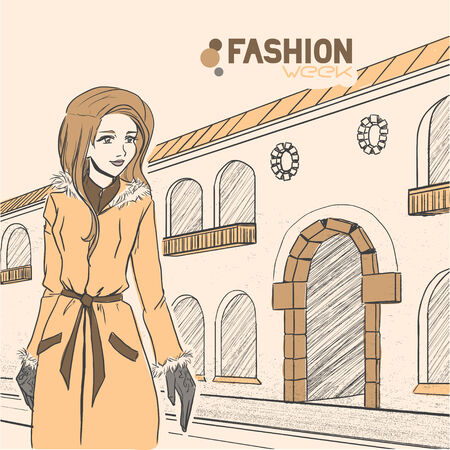 The young elegant woman on the street. Fall. Yellow and brown colors. Comic style Vector