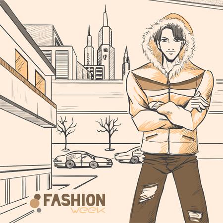 hombre guapo: El hombre hermoso joven hermosa en la chaqueta de campo y pantalones vaqueros en la calle cerca de la ruta. Panorama urbano. Oto�o. Cloud. Colores amarillos y marrones. Estilo c�mico, vector. Vectores
