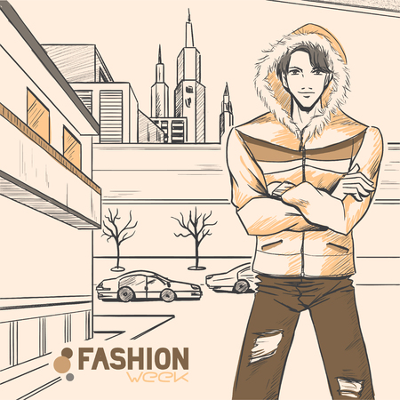 The young beautiful handsome man in field jacket and jeans on the street near route. Urban panorama. Autumn. Cloud. Yellow and brown colors. Comic style, vector.  Vector