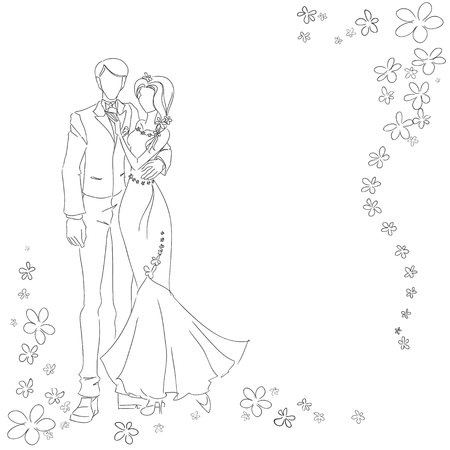 Man and woman drawing by lines. Monochrome vector image. Themes are wedding, love, relations.