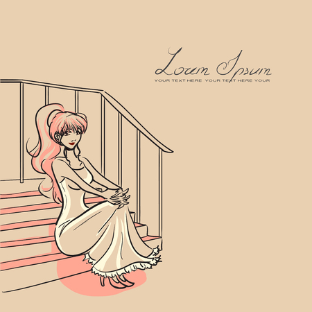 woman stairs: Young woman in beautiful dress sitting on staircase. Vector image, light orange colors