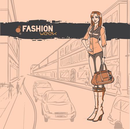 moda urbana: Moda urbana Series. Panorama de la calle con los coches. De pie glamour delgado hermosa joven. Vector de imagen. Vectores