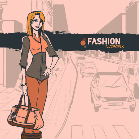 Series Urban fashion. Street panorama with cars. Standing slender glamour beautiful young girl. Vector image.