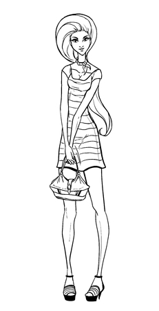 Vector picture with young trendy girl in short dress holding bag