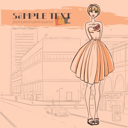 moda urbana: Moda urbana Series. Panorama de la calle. De pie glamour delgado hermosa joven. Vector de imagen.
