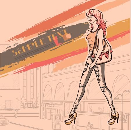 ragazza giovane bella: Serie Urban fashion. Panorama Street e snello glamour bella ragazza. Immagine vettoriale.