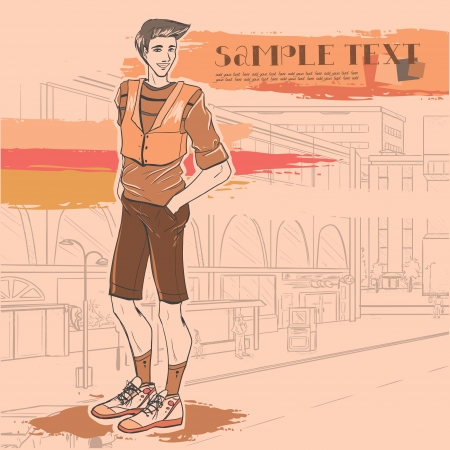 Series Urban fashion. Street panorama and handsome beautiful young guy. Vector image.