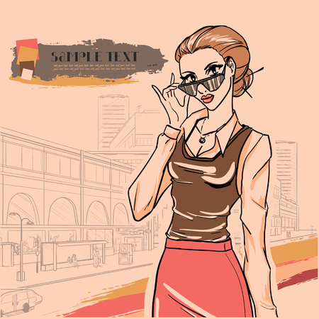 moda urbana: Moda urbana Series. Panorama de la calle y de negocios con gafas. Vector de imagen.