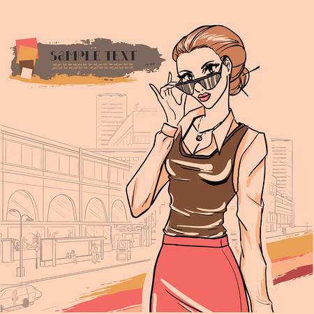 silhouette femme: S�rie mode urbaine. panorama de la rue et femme d'affaires avec des lunettes. Vecteur d'image.