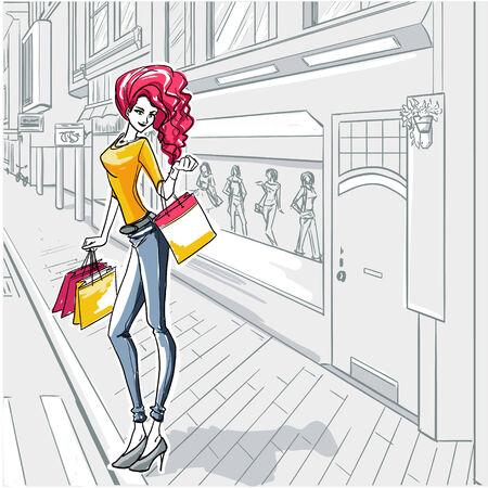 moda urbana: Serie urbana de moda-. La mujer de moda va a dar un paseo por los escaparates de las boutiques Vectores