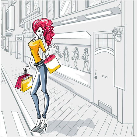Series -Urban fashion-. The fashionable woman goes for a walk by shop-windows of boutiques Vector