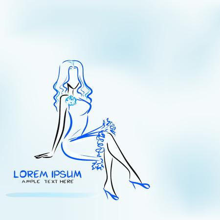 Kısa mavi elbiseli şık oturma kadınla Mavi arka plan Illustration