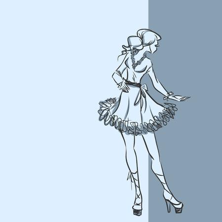 Elegant slim girl in short dress Illustration
