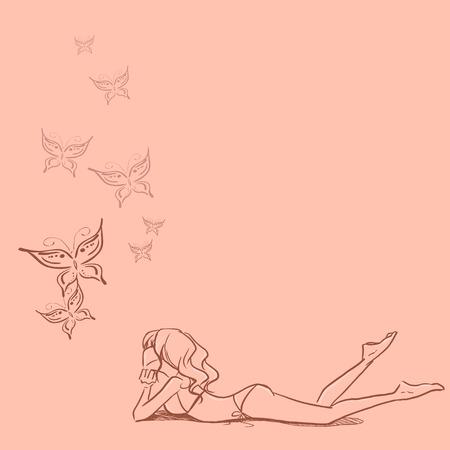 Genç ince mayo yatar kız ve butteflies bakarak Illustration