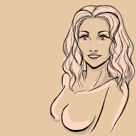 Vector image with woman's sketch Vector