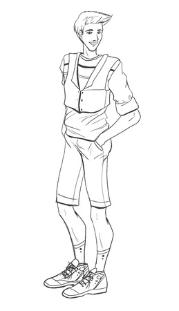 Standing handsome young guy in sporty dress. Vector picture drawing by black lines. Vector