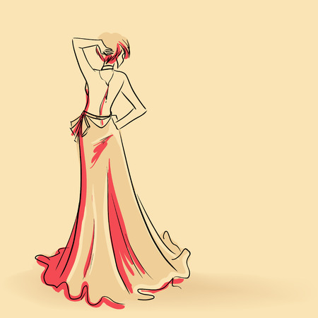 Elegant sanding woman in long evening dress Vector