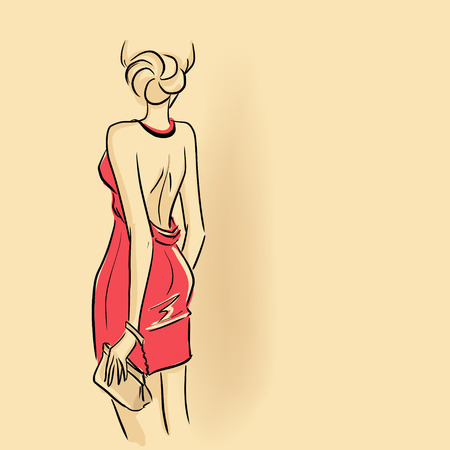 outline drawing: Elegant woman standing back and holding clutch