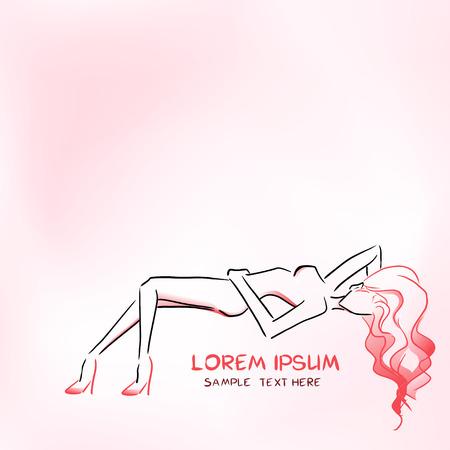 long hair woman: Silueta de elegante esbelta mujer acostada Vectores