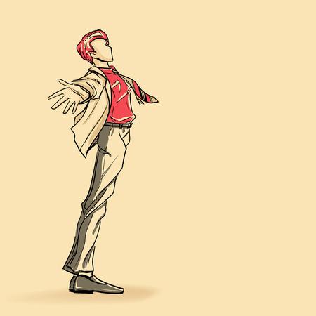 Ceket Genç ayakta adam, Illustration