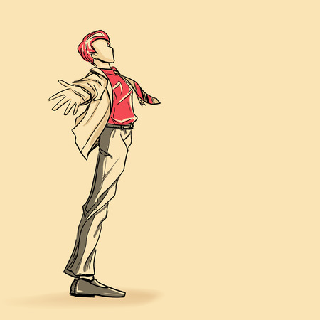 standing man: Young standing man in jacket Illustration