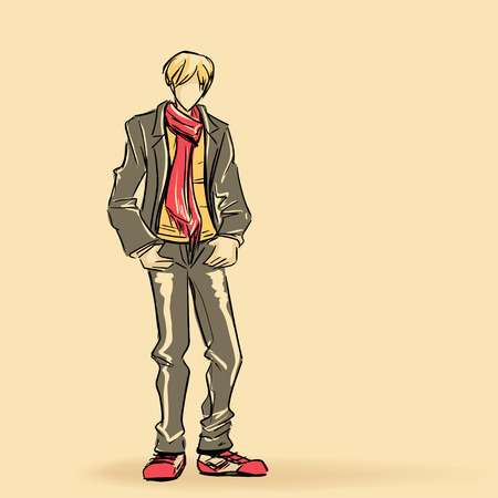 sexy guy: Young standing man in jacket and long scarf Illustration
