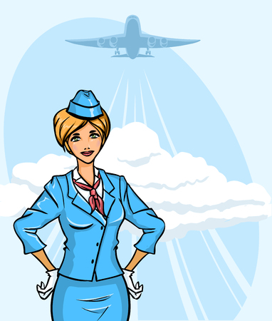Background with young pretty stewardess Vector