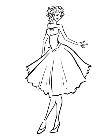 Young woman in beautiful dress. Scribble type image Illustration