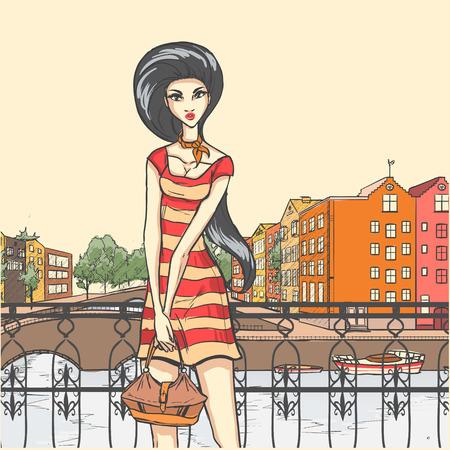 moda urbana: Moda urbana Series. Panor�mica de Street y el glamour delgado levanta en muelle. Vector de dibujos animados de fondo.