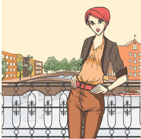 シリーズ都市のファッション。ストリート パノラマとスレンダー グラマー埠頭に立っています。漫画のベクトルの背景。