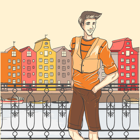 シリーズ都市のファッション。ストリート パノラマとアムステルダムの岸壁にスポーティな若い男。漫画のベクトルの背景。