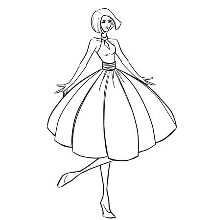 Akşam elbiseli kadın Illustration